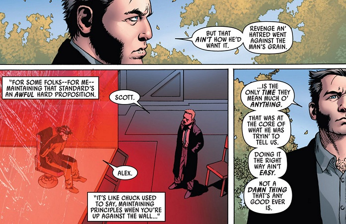 Wolverine at Xavier's funeral